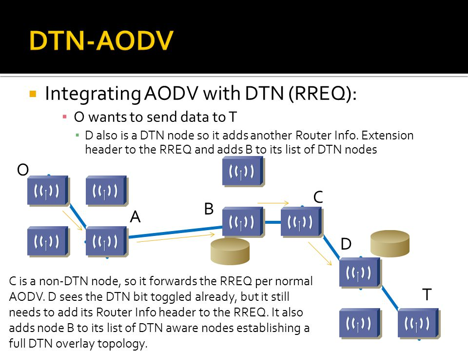  Integrating AODV with DTN (RREQ): ▪ O wants to send data to T ▪ D also is a DTN node so it adds another Router Info. Extension header to the RREQ an