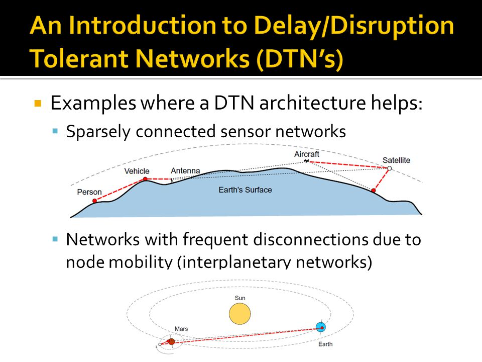  Examples where a DTN architecture helps:  Sparsely connected sensor networks  Networks with frequent disconnections due to node mobility (interpla