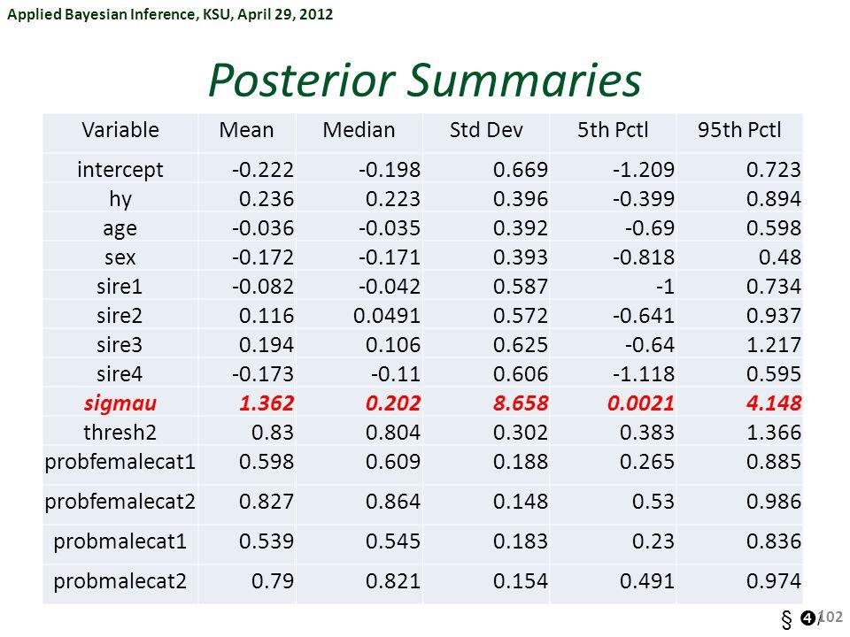 Applied Bayesian Inference, KSU, April 29, 2012 §  / Posterior Summaries VariableMeanMedianStd Dev5th Pctl95th Pctl intercept-0.222-0.1980.669-1.2090