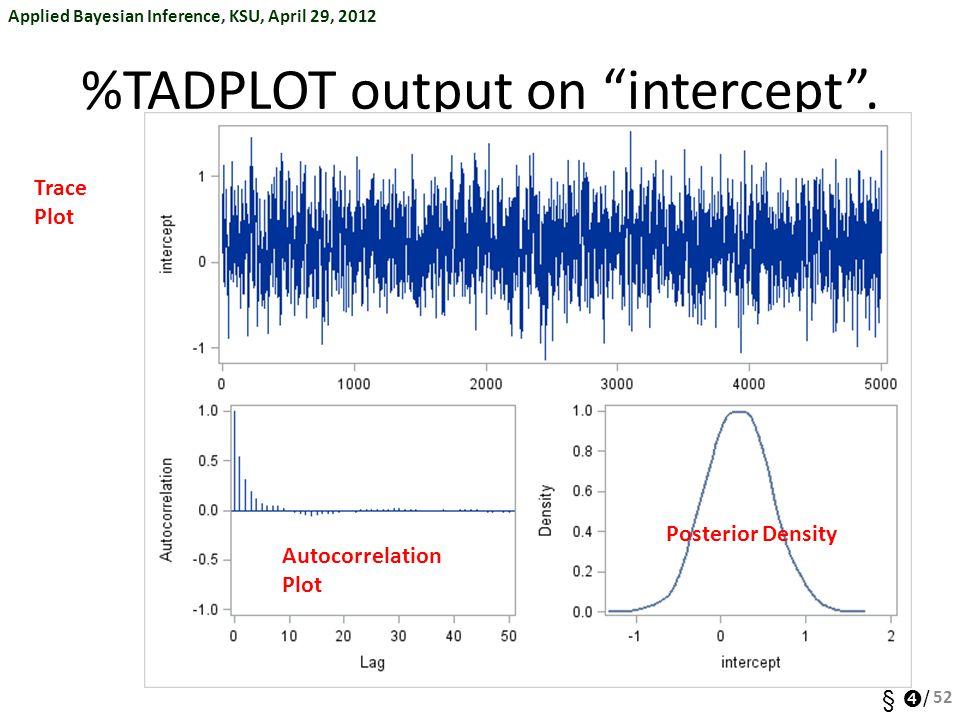 """Applied Bayesian Inference, KSU, April 29, 2012 §  / %TADPLOT output on """"intercept"""". 52 Trace Plot Autocorrelation Plot Posterior Density"""