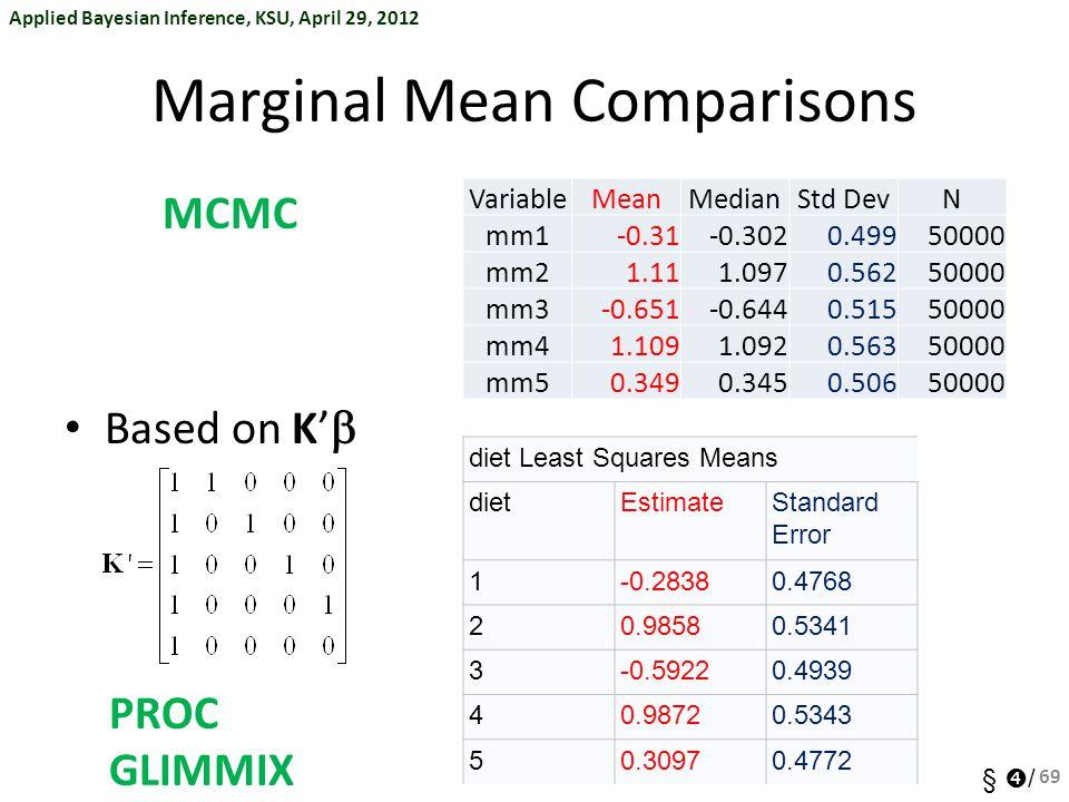 Applied Bayesian Inference, KSU, April 29, 2012 §  / Marginal Mean Comparisons Based on K'  69 diet Least Squares Means dietEstimateStandard Error 1