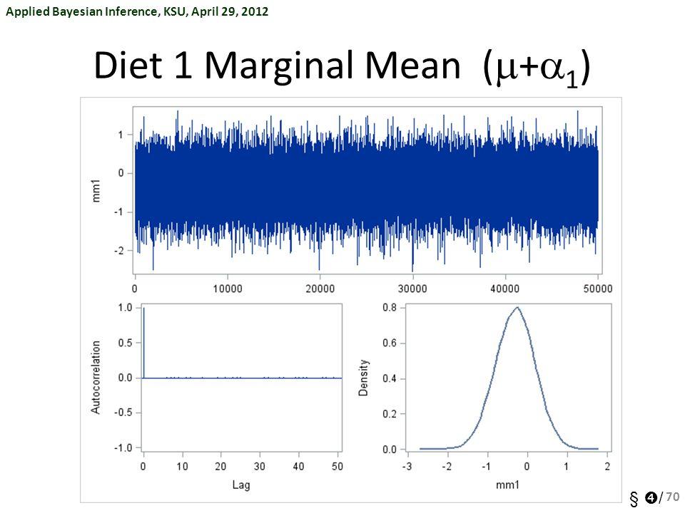 Applied Bayesian Inference, KSU, April 29, 2012 §  / Diet 1 Marginal Mean (  +  1 ) 70