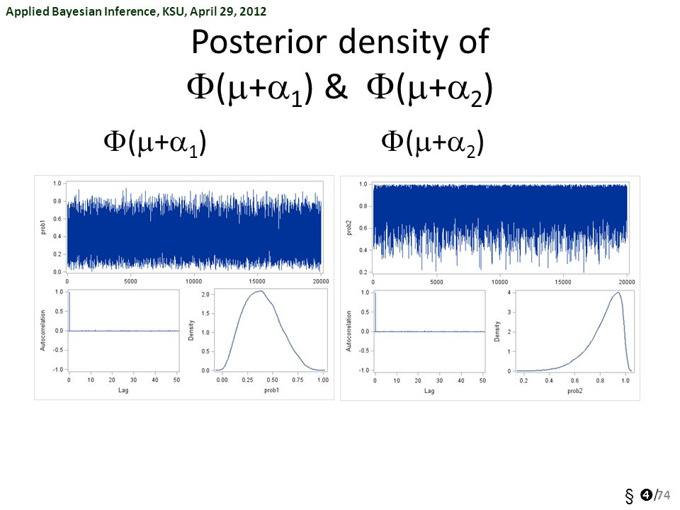 Applied Bayesian Inference, KSU, April 29, 2012 §  / Posterior density of  (  +  1 ) &  (  +  2 ) 74 (+2)(+2) (+1)(+1)