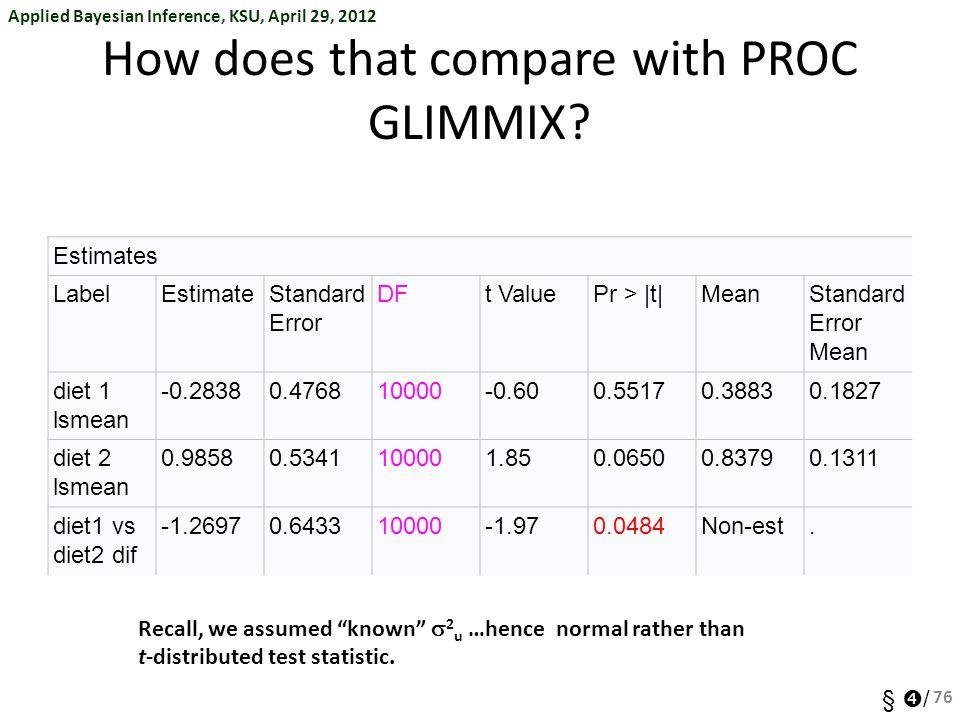 Applied Bayesian Inference, KSU, April 29, 2012 §  / How does that compare with PROC GLIMMIX? Estimates LabelEstimateStandard Error DFt ValuePr > |t|