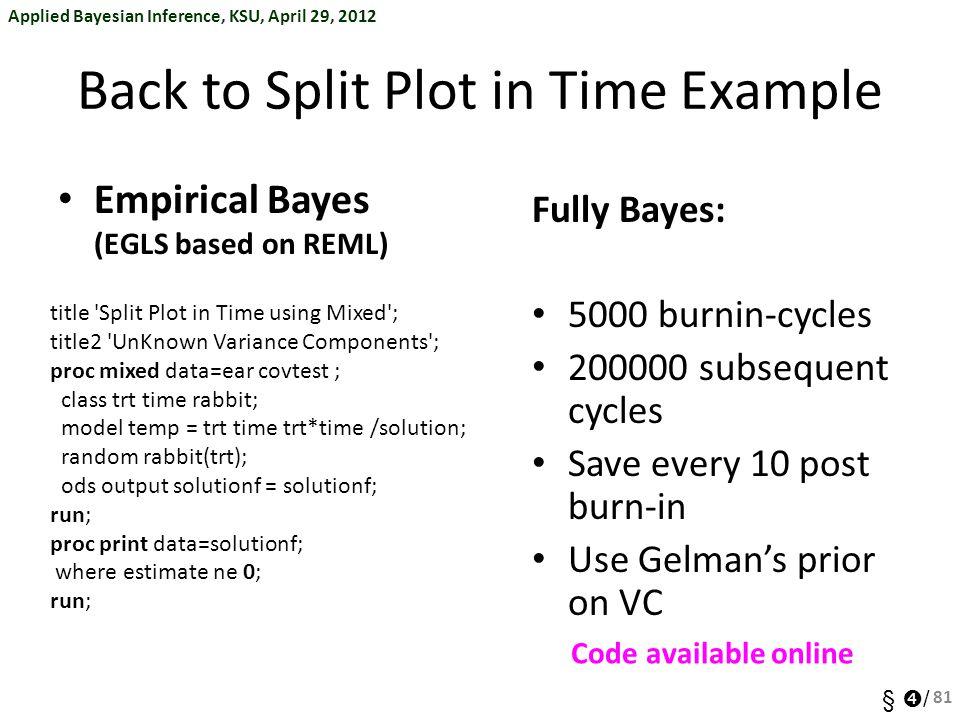 Applied Bayesian Inference, KSU, April 29, 2012 §  / Back to Split Plot in Time Example Empirical Bayes (EGLS based on REML) title 'Split Plot in Tim