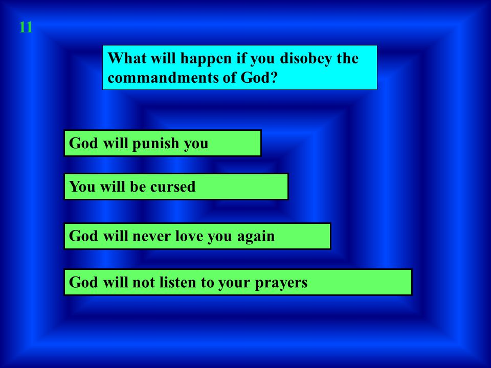What will happen if you disobey the commandments of God.