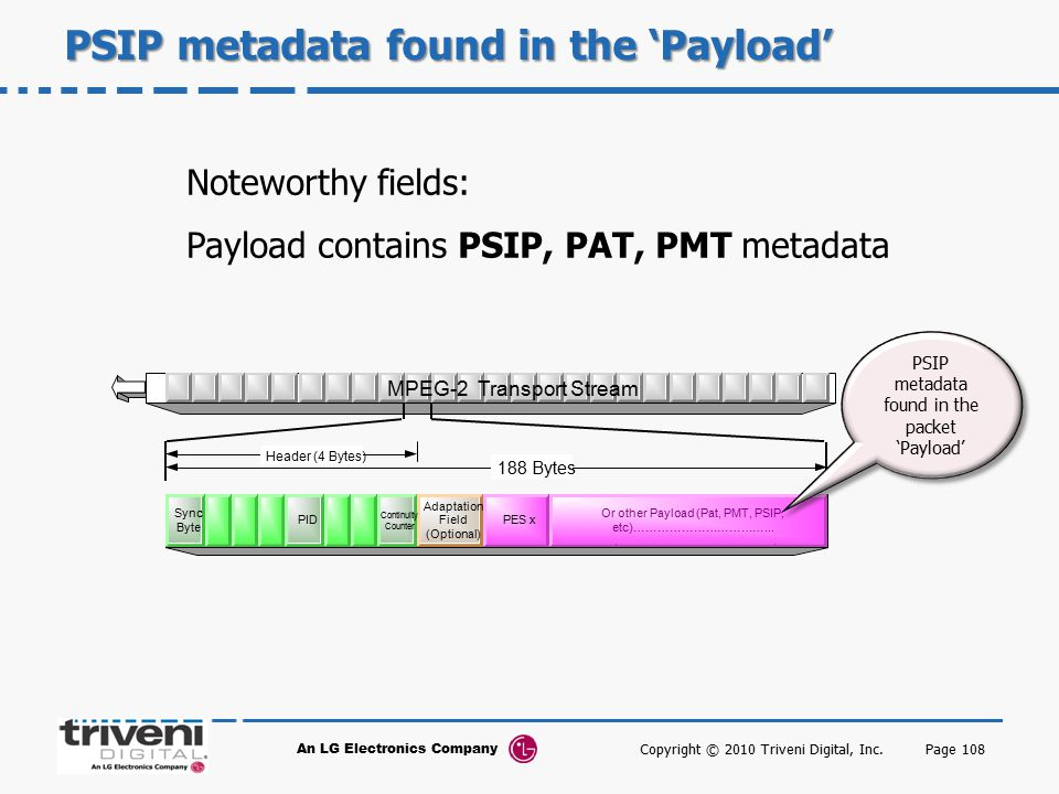 An LG Electronics Company Page 108 PSIP metadata found in the 'Payload' Noteworthy fields: Payload contains PSIP, PAT, PMT metadata Adaptation Field Continuity Counter Sync Byte PID 188 Bytes Header (4 Bytes) PES 1 Adaptation Field (Optional) PID Sync Byte Continuity Counter PES x Or other Payload (Pat, PMT, PSIP, etc)……………………………...