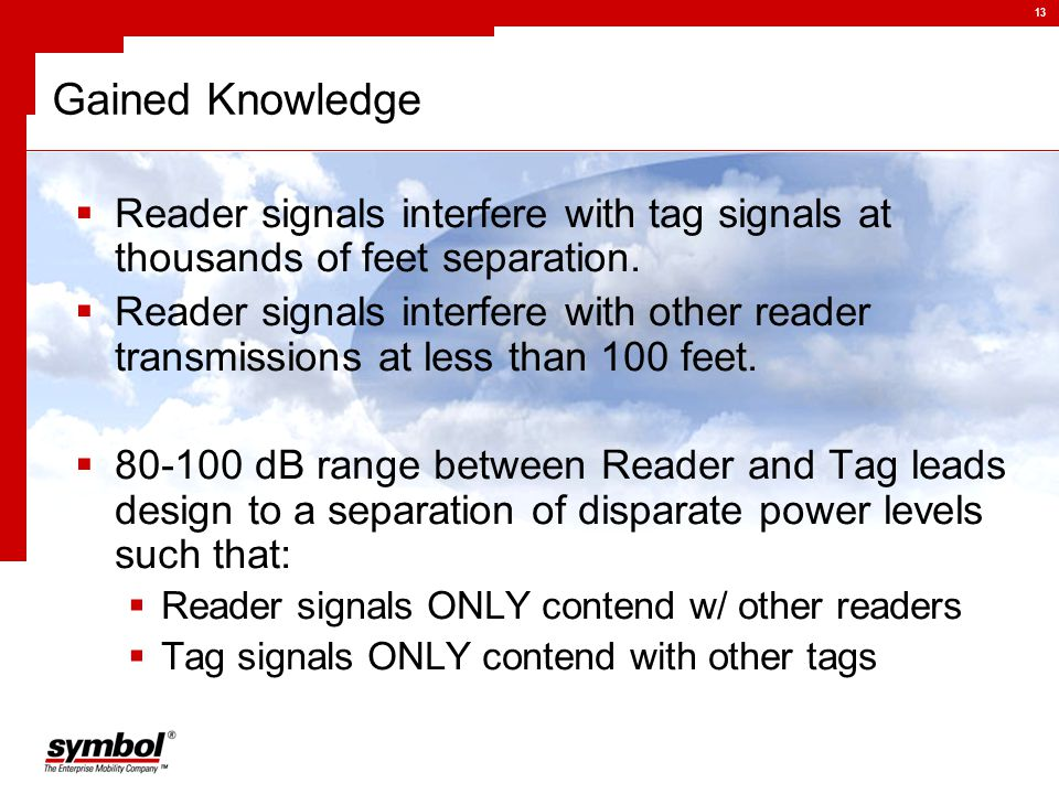 13 Gained Knowledge  Reader signals interfere with tag signals at thousands of feet separation.