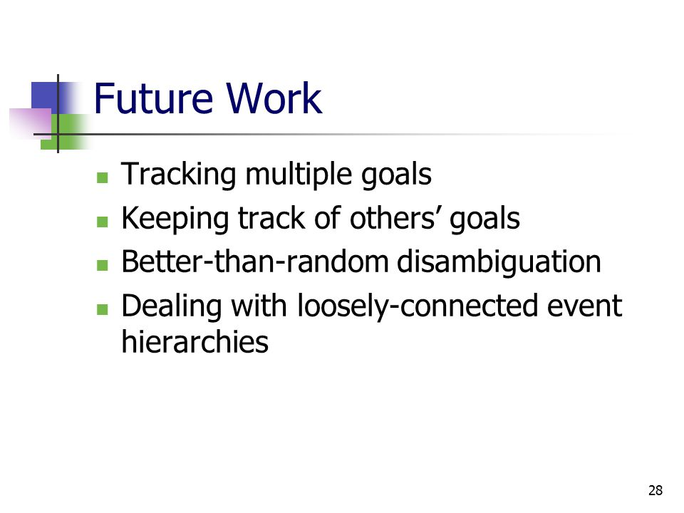 28 Future Work Tracking multiple goals Keeping track of others' goals Better-than-random disambiguation Dealing with loosely-connected event hierarchies
