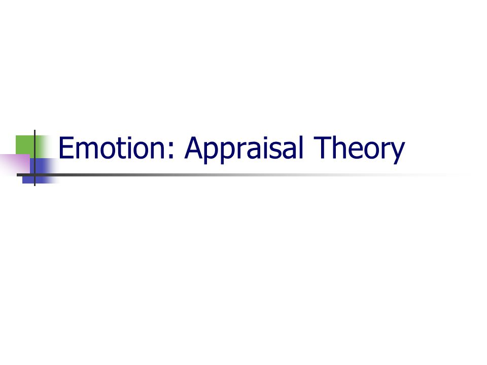 Emotion: Appraisal Theory