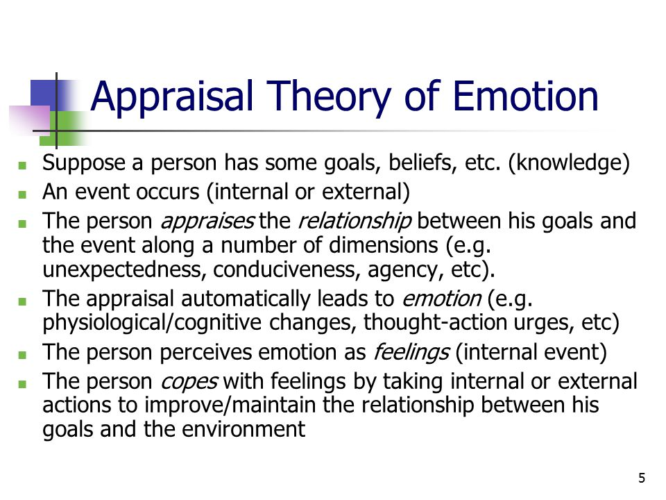 5 Appraisal Theory of Emotion Suppose a person has some goals, beliefs, etc.