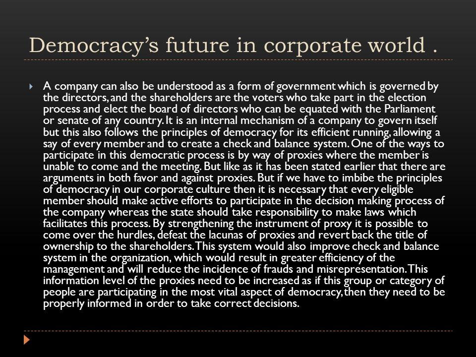Democracy's future in corporate world.