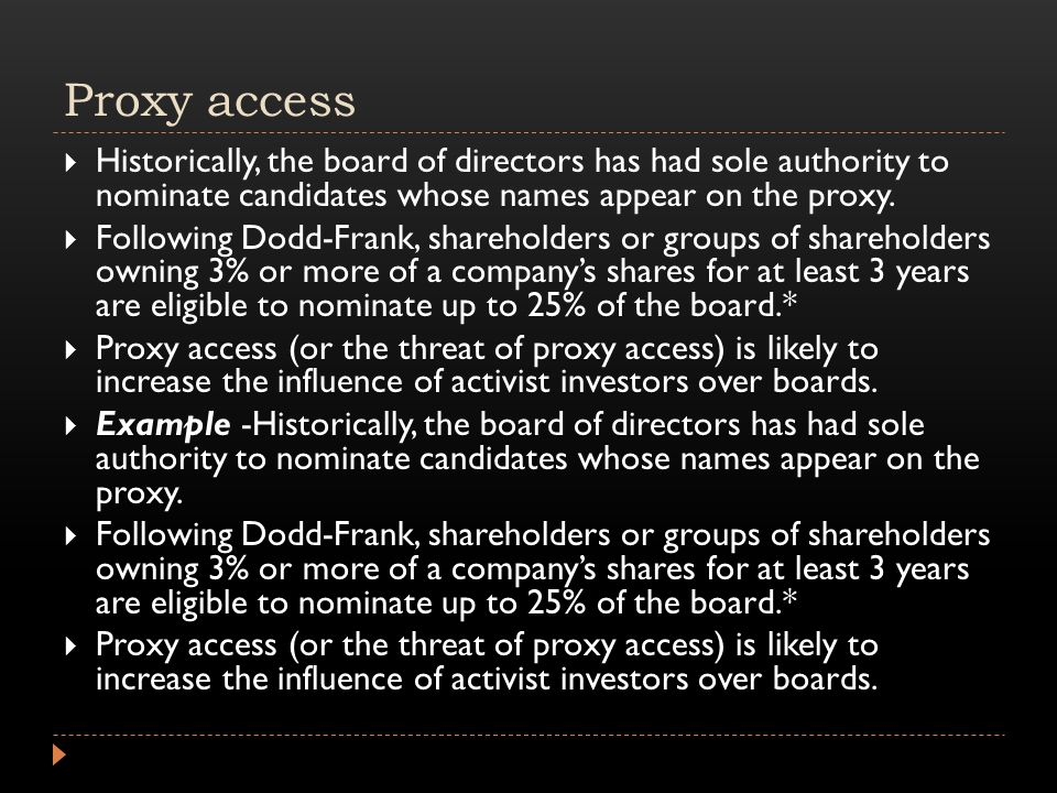 Proxy access  Historically, the board of directors has had sole authority to nominate candidates whose names appear on the proxy.  Following Dodd-Fr