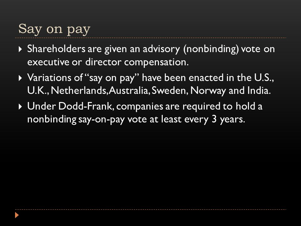 Say on pay  Shareholders are given an advisory (nonbinding) vote on executive or director compensation.