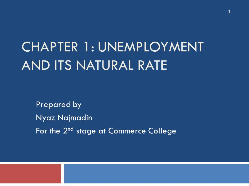 CHAPTER 1: UNEMPLOYMENT AND ITS NATURAL RATE Prepared by Nyaz Najmadin For the 2 nd stage at Commerce College 1