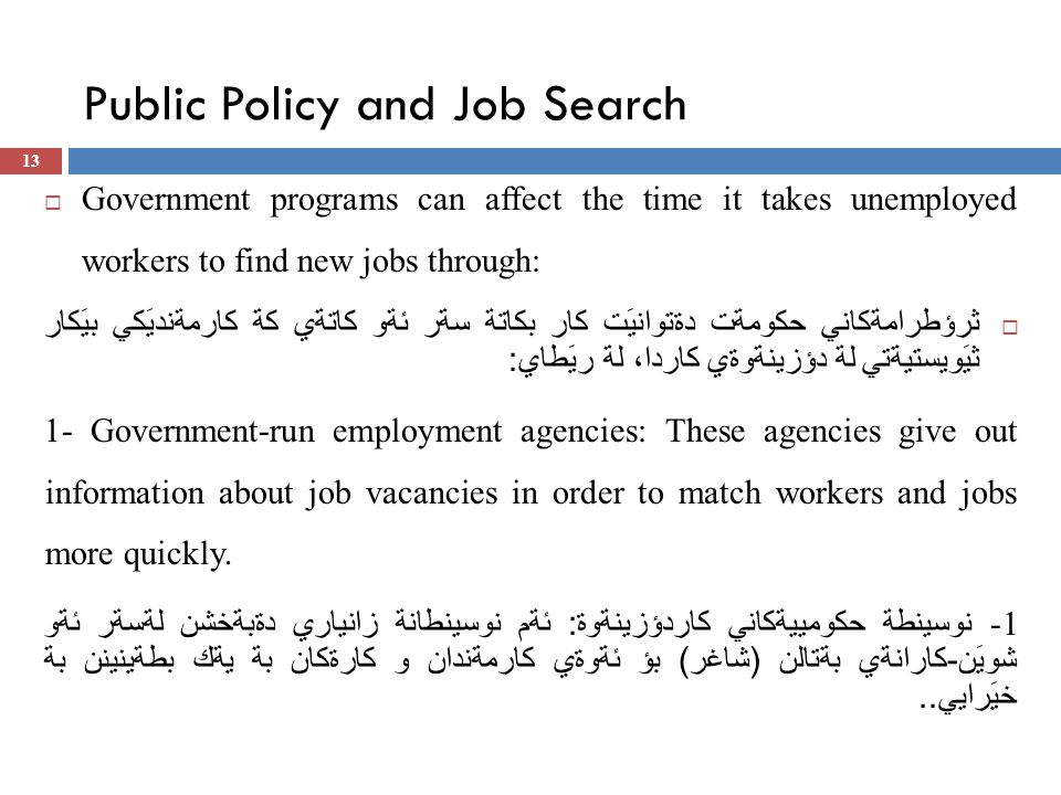 Public Policy and Job Search  Government programs can affect the time it takes unemployed workers to find new jobs through:  ثرؤطرامةكاني حكومةت دةتوانيَت كار بكاتة سةر ئةو كاتةي كة كارمةنديَكي بيَكار ثيَويستيةتي لة دؤزينةوةي كاردا، لة ريَطاي : 1- Government-run employment agencies: These agencies give out information about job vacancies in order to match workers and jobs more quickly.