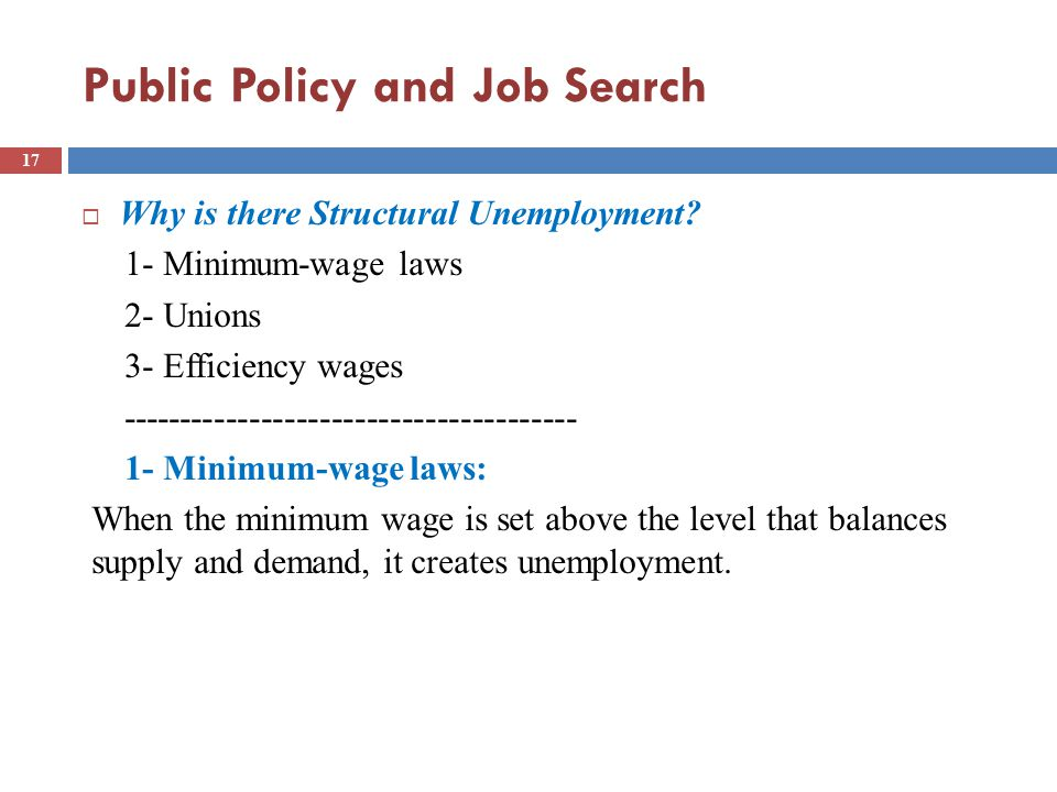 Public Policy and Job Search  Why is there Structural Unemployment.