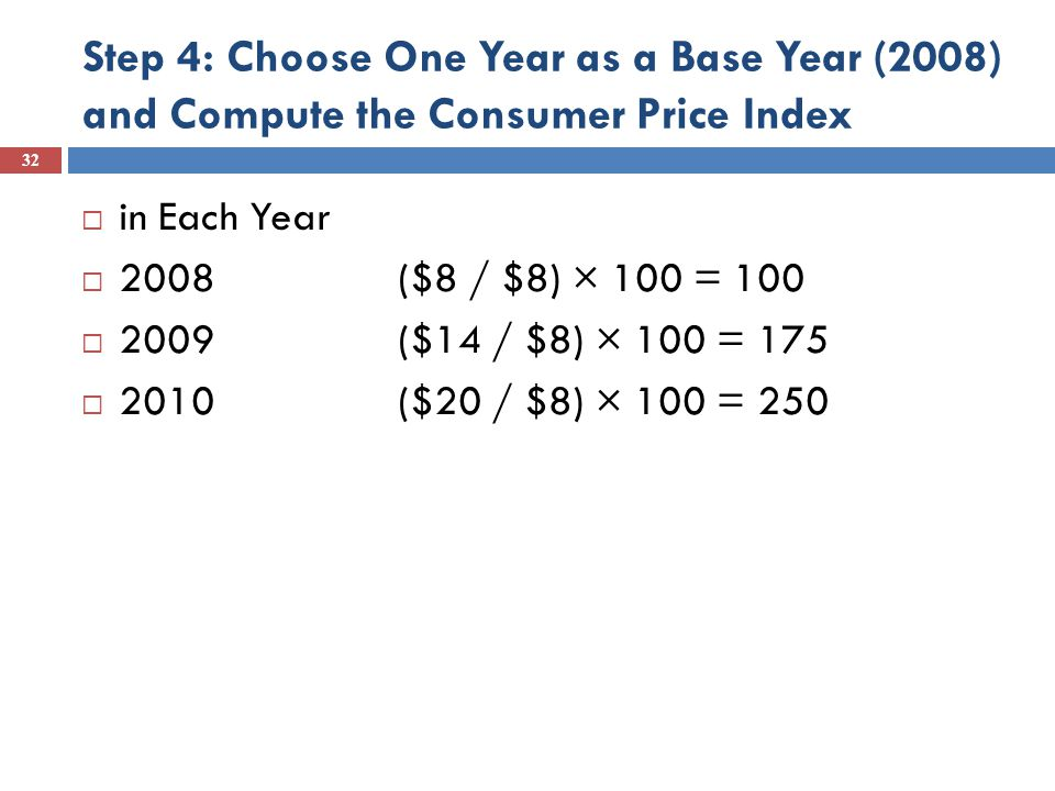 Step 4: Choose One Year as a Base Year (2008) and Compute the Consumer Price Index  in Each Year  2008 ($8 / $8) × 100 = 100  2009 ($14 / $8) × 100 = 175  2010 ($20 / $8) × 100 = 250 32