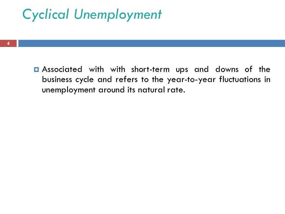Cyclical Unemployment  Associated with with short-term ups and downs of the business cycle and refers to the year-to-year fluctuations in unemployment around its natural rate.