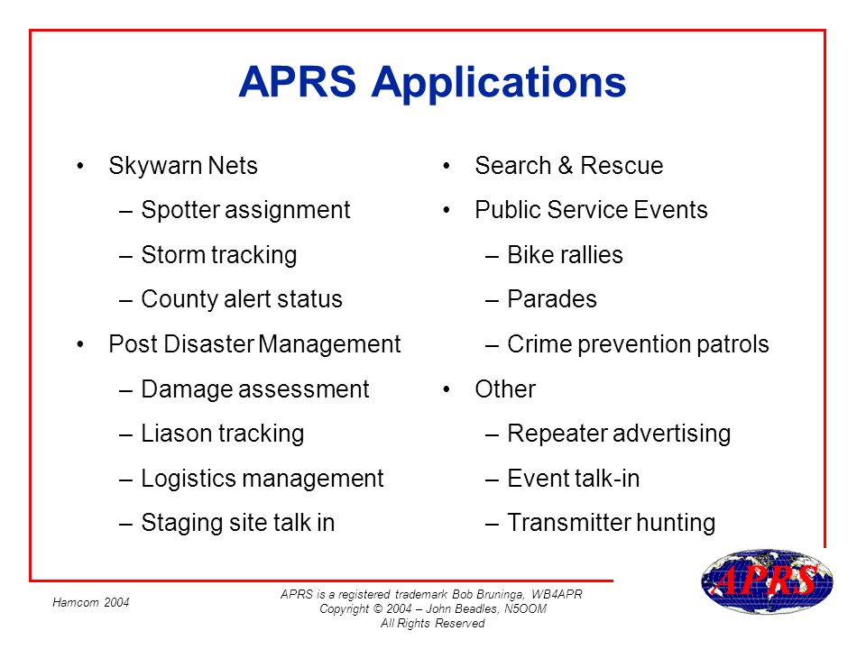 APRS is a registered trademark Bob Bruninga, WB4APR Copyright © 2004 – John Beadles, N5OOM All Rights Reserved Hamcom 2004 APRS Applications Search &