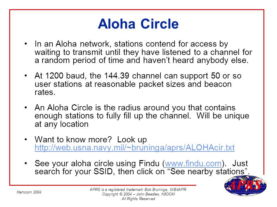 APRS is a registered trademark Bob Bruninga, WB4APR Copyright © 2004 – John Beadles, N5OOM All Rights Reserved Hamcom 2004 Aloha Circle In an Aloha ne