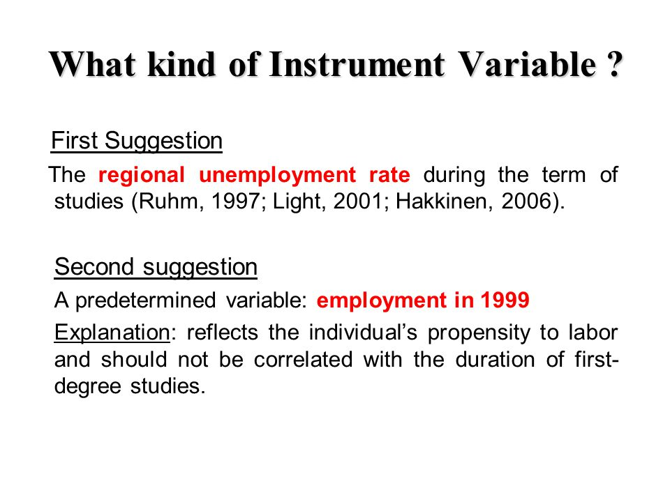 What kind of Instrument Variable .