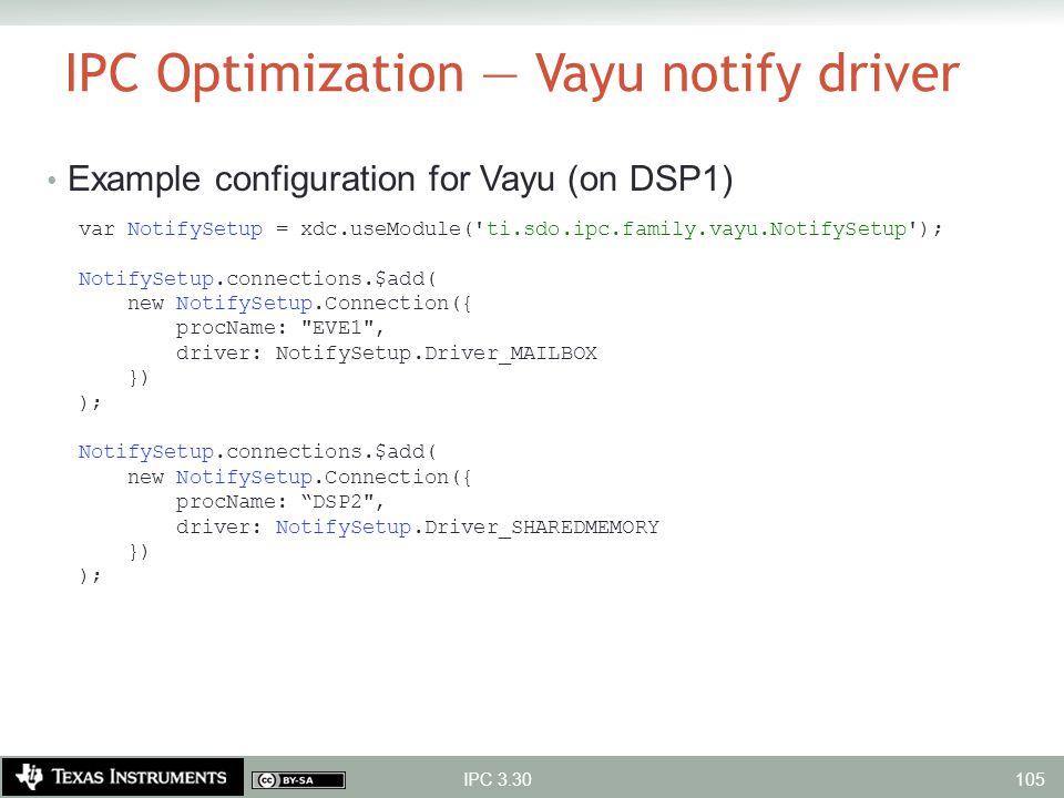 IPC Optimization — Vayu notify driver Example configuration for Vayu (on DSP1) var NotifySetup = xdc.useModule('ti.sdo.ipc.family.vayu.NotifySetup');