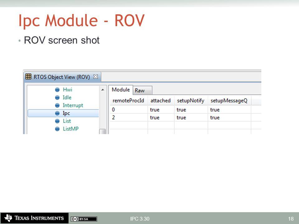Ipc Module - ROV ROV screen shot IPC 3.30 18