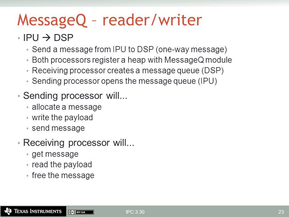 MessageQ – reader/writer IPU  DSP Send a message from IPU to DSP (one-way message) Both processors register a heap with MessageQ module Receiving pro