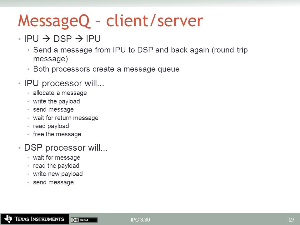 MessageQ – client/server IPU  DSP  IPU Send a message from IPU to DSP and back again (round trip message) Both processors create a message queue IPU
