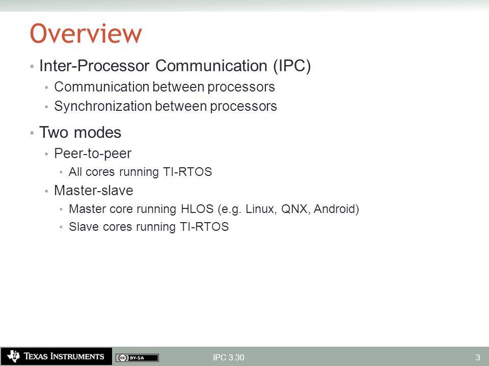 Overview Inter-Processor Communication (IPC) Communication between processors Synchronization between processors Two modes Peer-to-peer All cores runn