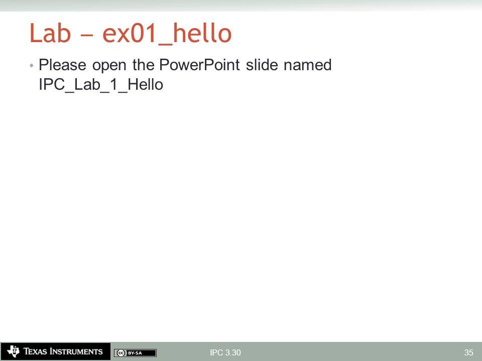 Lab ‒ ex01_hello Please open the PowerPoint slide named IPC_Lab_1_Hello IPC 3.30 35