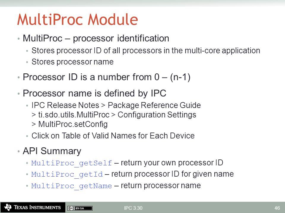MultiProc Module MultiProc – processor identification Stores processor ID of all processors in the multi-core application Stores processor name Proces