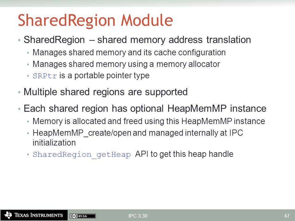 SharedRegion Module SharedRegion – shared memory address translation Manages shared memory and its cache configuration Manages shared memory using a m