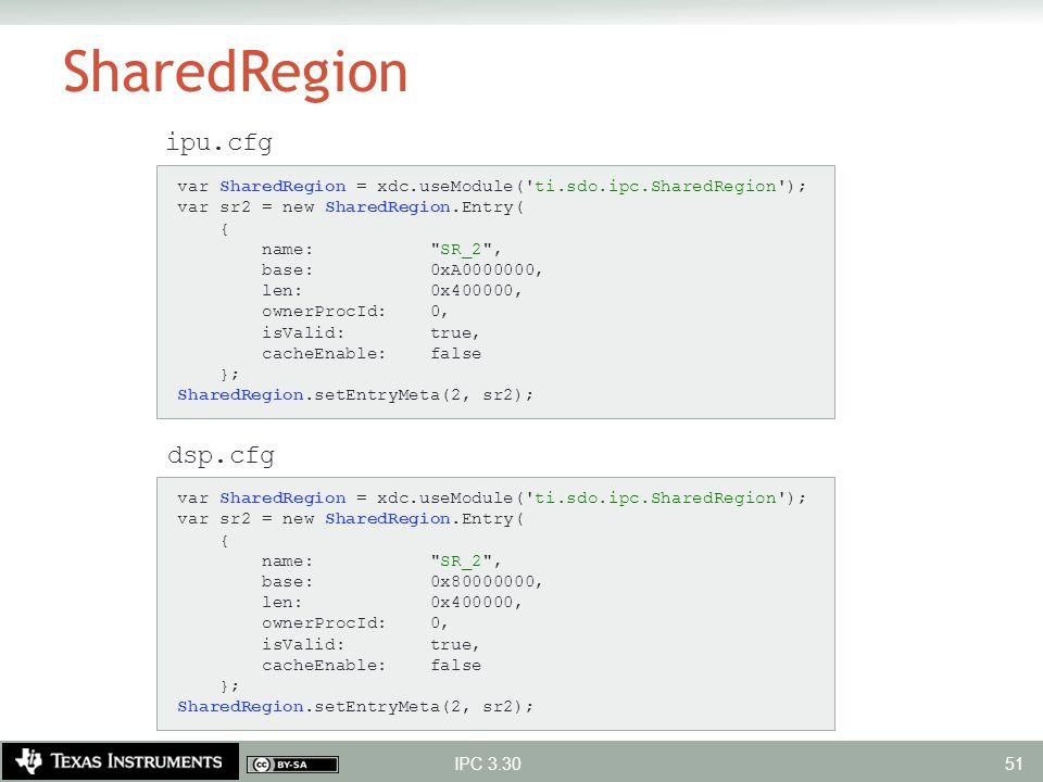 SharedRegion IPC 3.30 ipu.cfg dsp.cfg var SharedRegion = xdc.useModule('ti.sdo.ipc.SharedRegion'); var sr2 = new SharedRegion.Entry( { name: