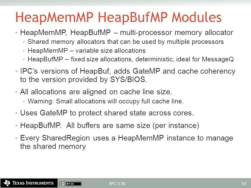 HeapMemMP HeapBufMP Modules HeapMemMP, HeapBufMP – multi-processor memory allocator Shared memory allocators that can be used by multiple processors H