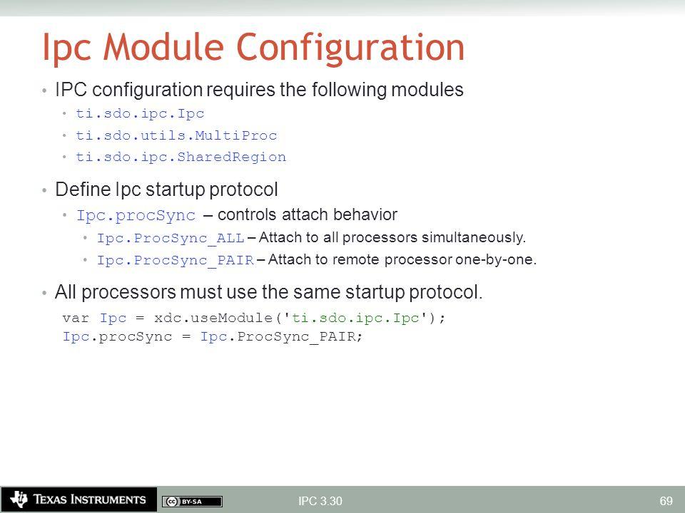Ipc Module Configuration IPC configuration requires the following modules ti.sdo.ipc.Ipc ti.sdo.utils.MultiProc ti.sdo.ipc.SharedRegion Define Ipc sta