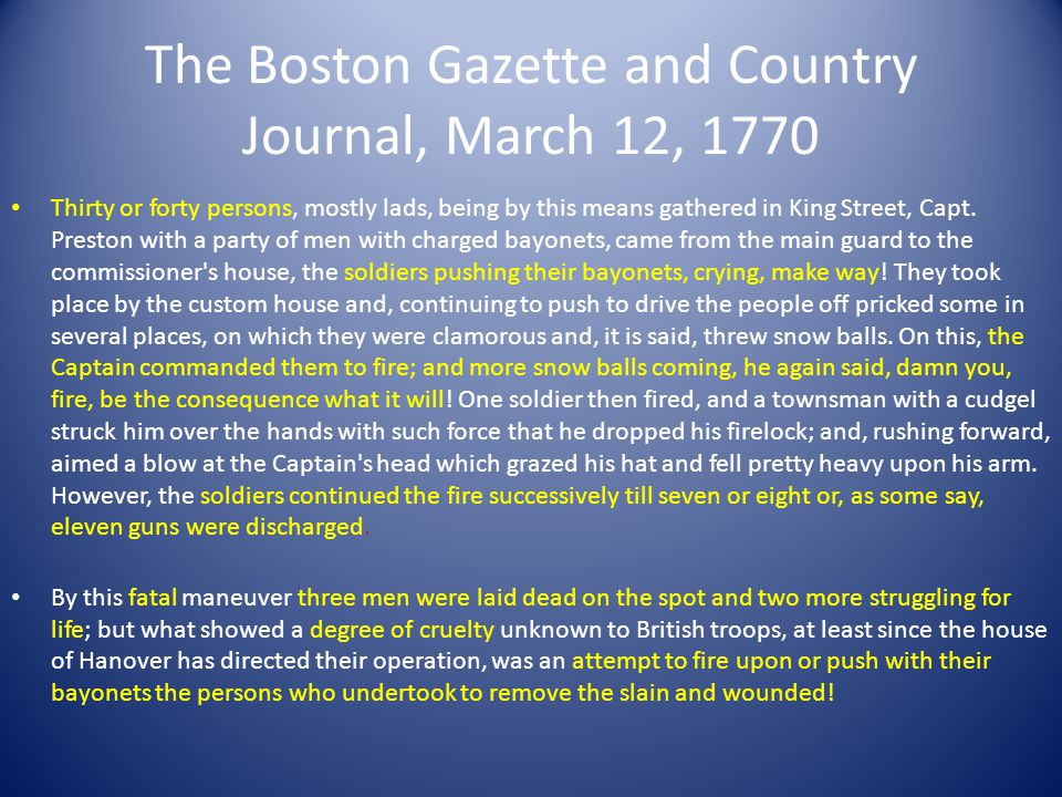 Part Four: Evaluate Do you think the title Boston Massacre accurately describes this event.