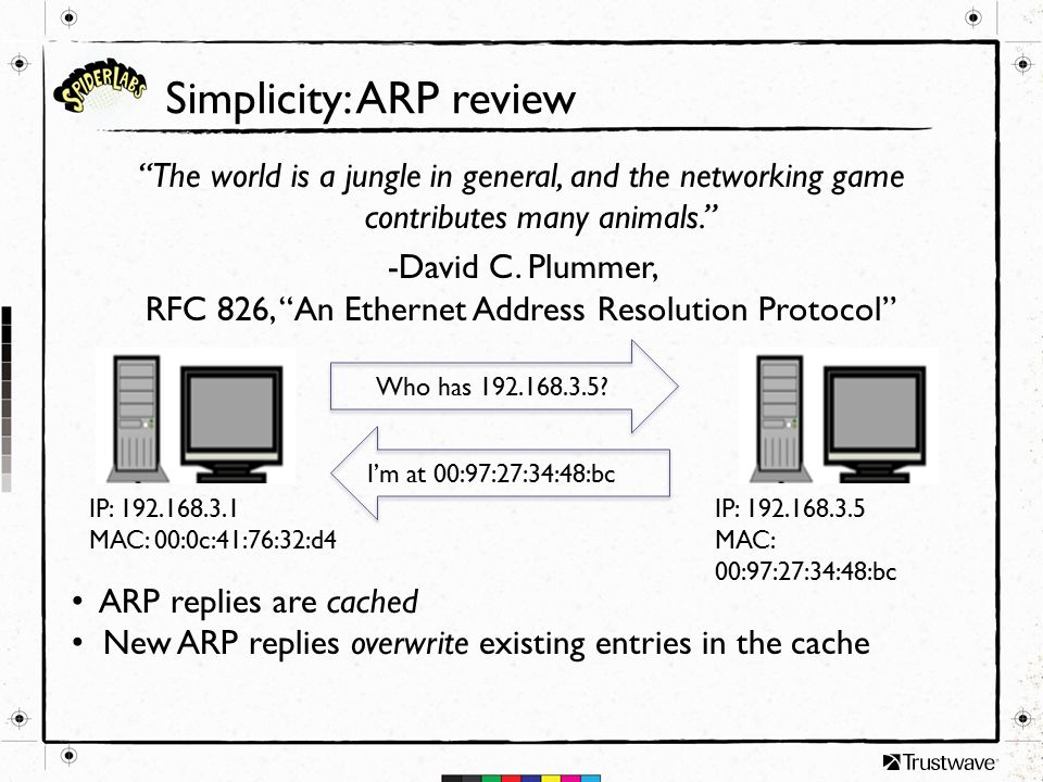 Simplicity: ARP review The world is a jungle in general, and the networking game contributes many animals. -David C.