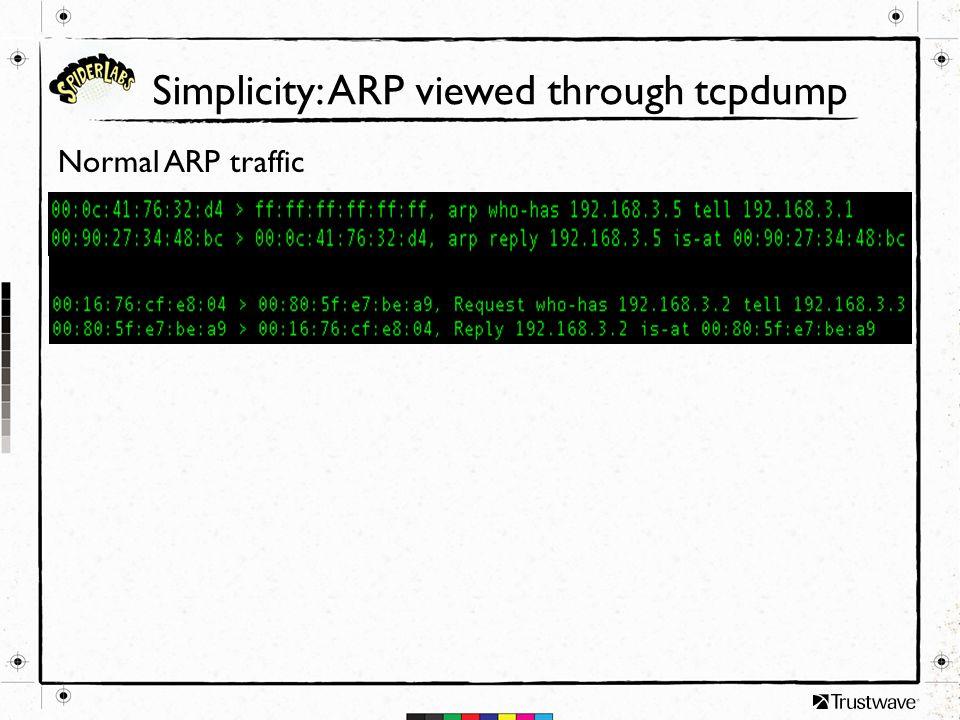 Simplicity: ARP viewed through tcpdump Normal ARP traffic
