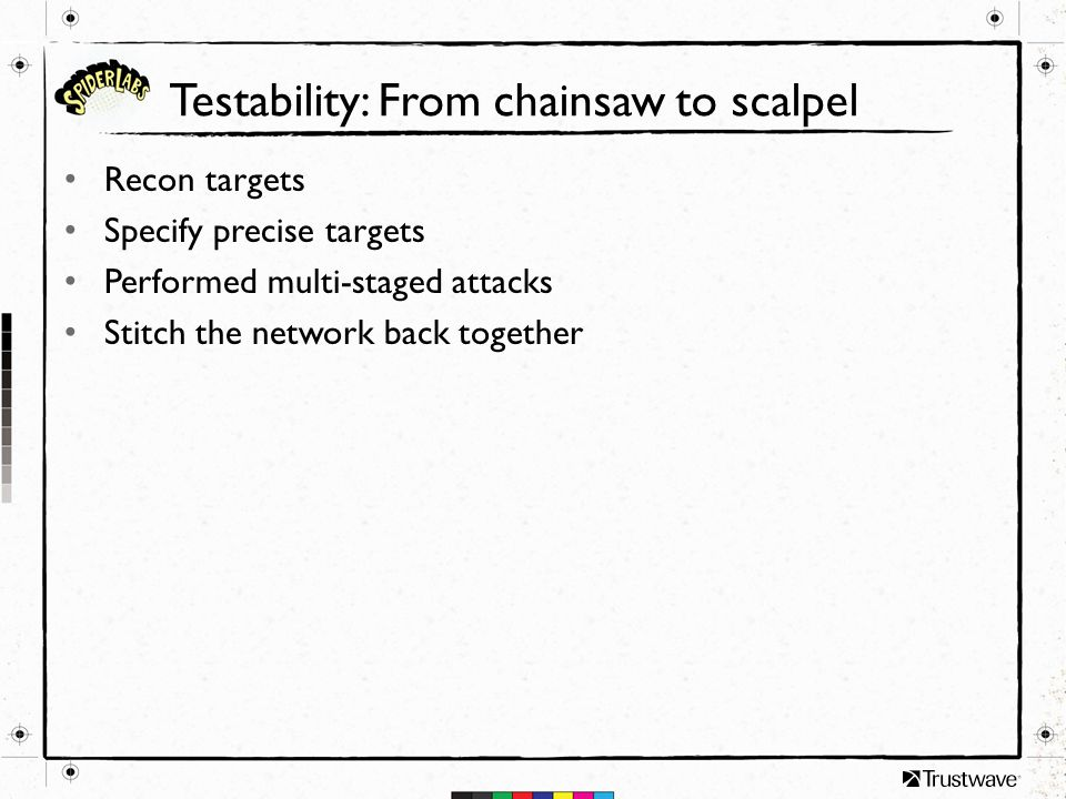 Testability: From chainsaw to scalpel Recon targets Specify precise targets Performed multi-staged attacks Stitch the network back together