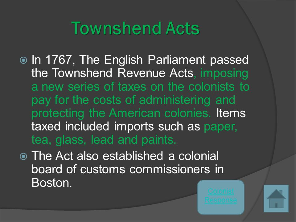 RESPONSE to the Stamp Act  The American colonists quickly united in opposition, led by the most influential segments of colonial society - lawyers, publishers, land owners, ship builders and merchants – the people that were most affected by the Act.