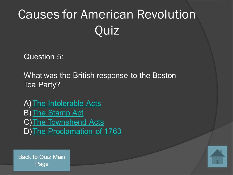 Causes for American Revolution Quiz Question 4: Who signed the Proclamation of 1763 into law.