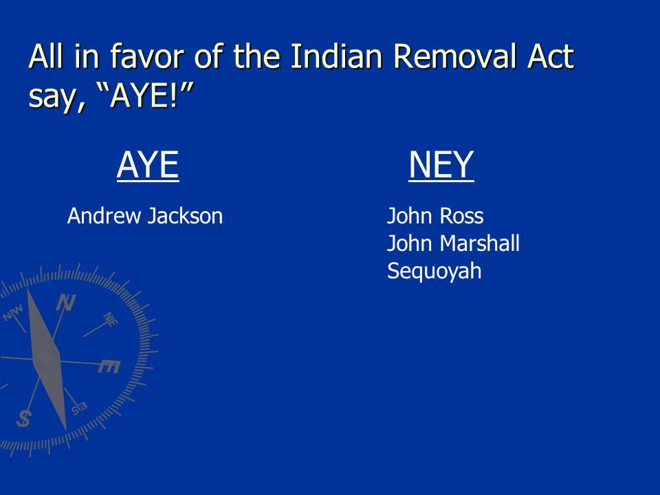 All in favor of the Indian Removal Act say, AYE! AYE Andrew JacksonJohn Ross John Marshall Sequoyah NEY