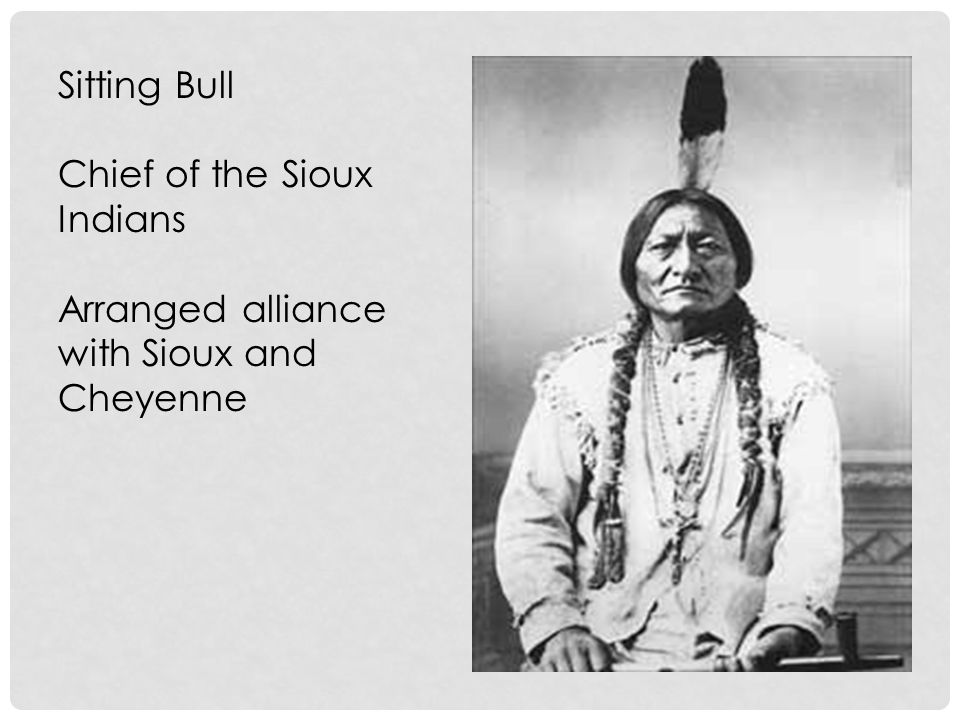 Sitting Bull Chief of the Sioux Indians Arranged alliance with Sioux and Cheyenne