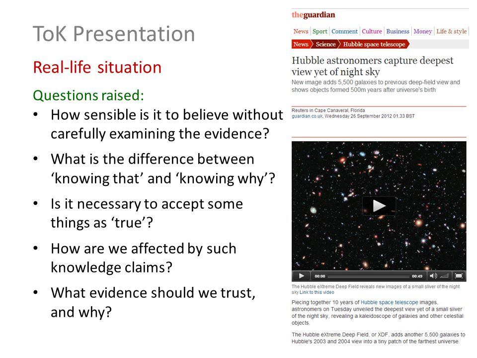 ToK Presentation Knowledge Issue To what extent is what we know shaped by authority.