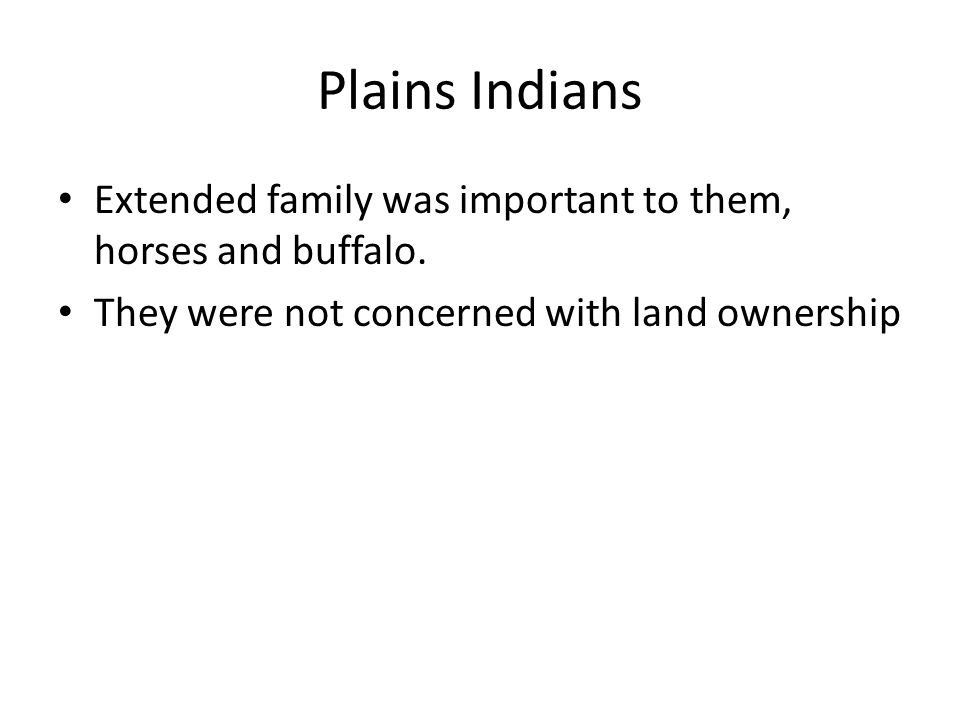 Plains Indians Extended family was important to them, horses and buffalo. They were not concerned with land ownership