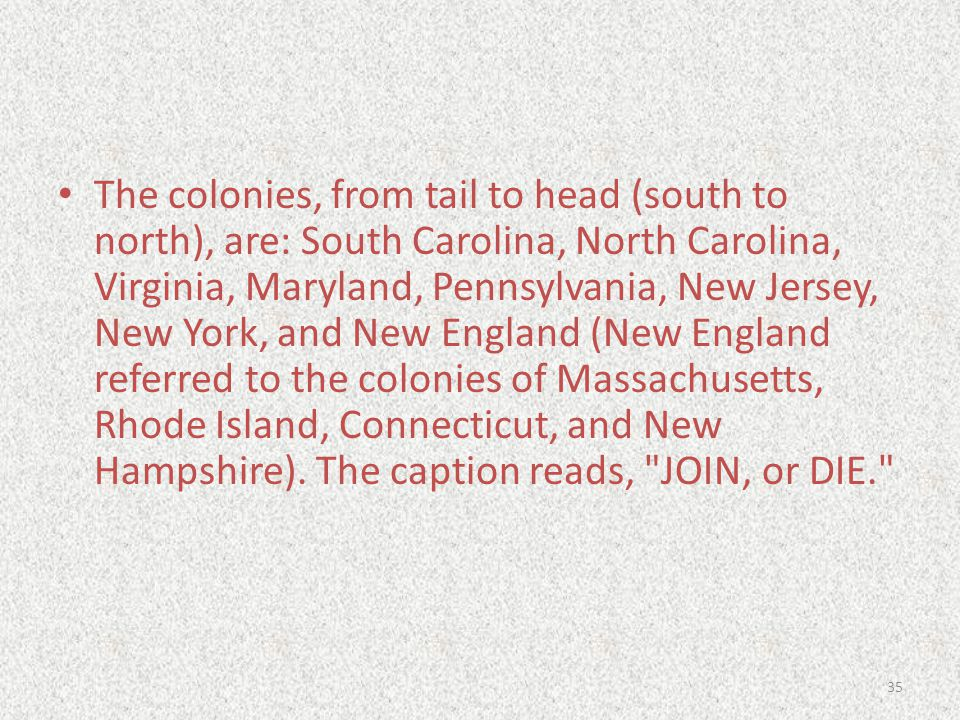 The colonies, from tail to head (south to north), are: South Carolina, North Carolina, Virginia, Maryland, Pennsylvania, New Jersey, New York, and New