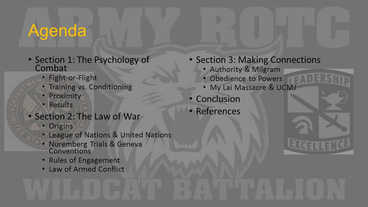 Agenda Section 1: The Psychology of Combat Fight-or-Flight Training vs.