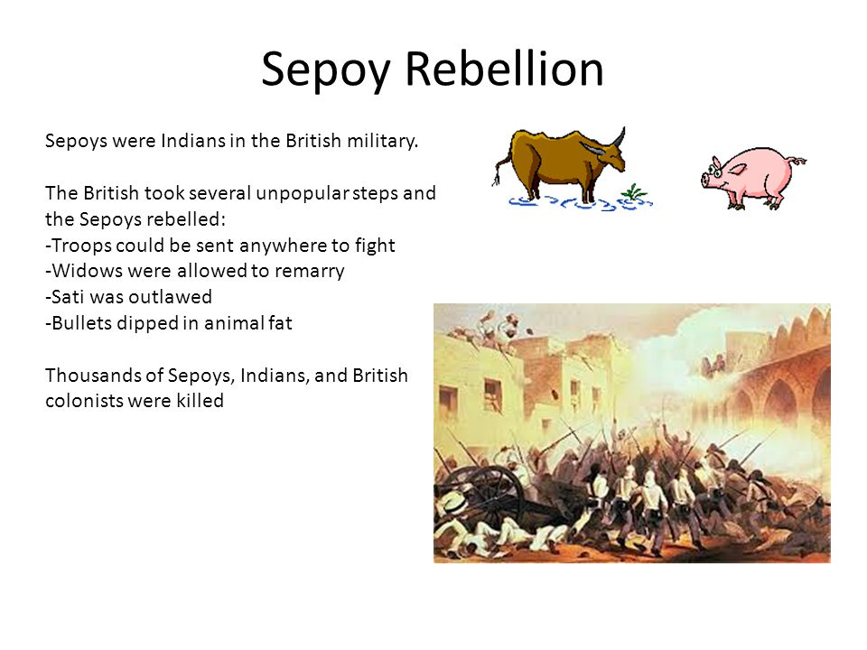 Sepoy Rebellion Sepoys were Indians in the British military.
